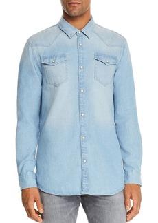 Scotch & Soda Bleached Indigo Denim Regular Fit Western Shirt