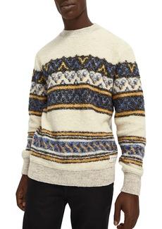 Scotch & Soda Boucl� Geo Stripe Jacquard Regular Fit Crewneck Sweater
