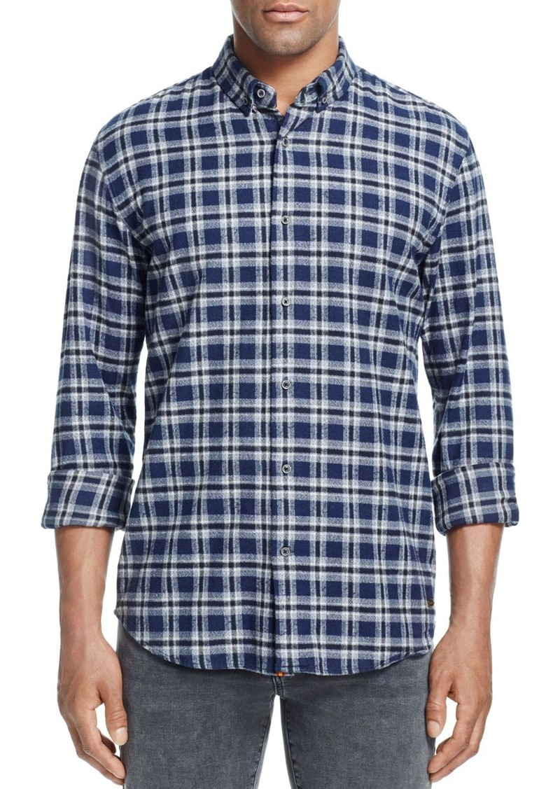 Scotch & Soda Brushed Cotton Plaid Slim Fit Button-Down Shirt