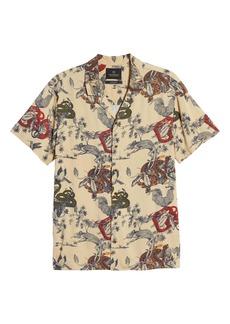 Scotch & Soda Slim Fit Print Short Sleeve Button-Up Sport Shirt