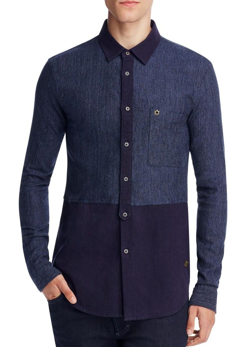 Scotch & Soda Colorblock Indigo Slim Fit Button-Down Shirt