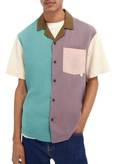 Scotch & Soda Colorblock Short Sleeve Button-Up Shirt