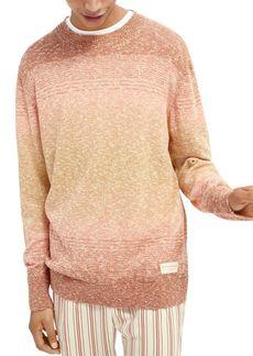Scotch & Soda Cotton Blend Ombr� Gradient Stripe Regular Fit Crewneck Sweater