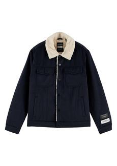Scotch & Soda Fleece Lined Wool Blend Trucker Jacket