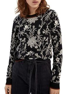Scotch & Soda Floral Intarsia Cotton Sweater