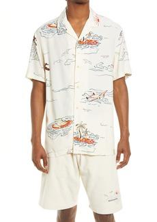 Scotch & Soda Hawaii Print Short Sleeve Button-Up Camp Shirt