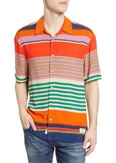 Scotch & Soda Hawaii Slim Fit Stripe Short Sleeve Button-Up Shirt