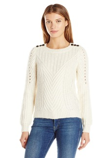 Scotch & Soda Maison Scotch Women's Crew Neck Cable Knit with Button Detail On The Shoulder Off