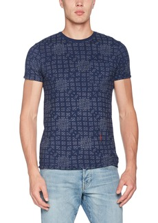 Scotch & Soda Men's AMS Blauw Allover Print Tee with Regular Fit