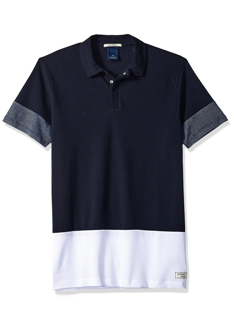 Scotch & Soda Men's Colourblock Polo with Hidden Press Button Closure Combo c S