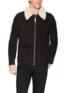 Scotch & Soda Men's Easy Short Leather Jacket with Detachable Teddy Collar  M