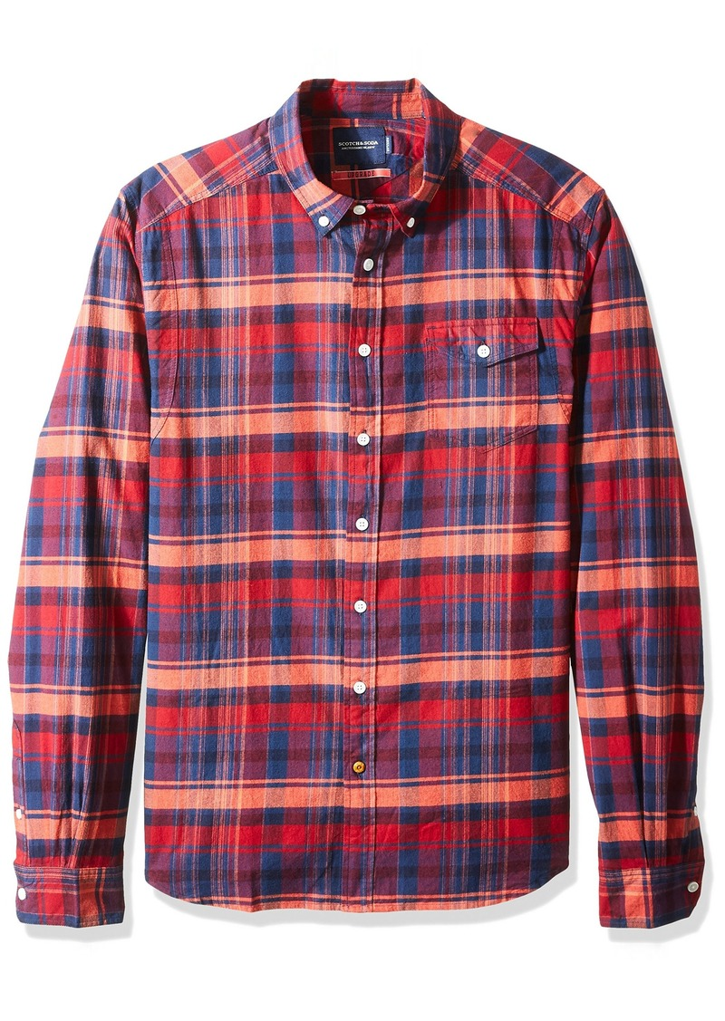Scotch & Soda Men's Lightweight Brushed Flannel Shirt with Workwear Elements Combo A A