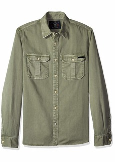 Scotch & Soda Men's Oversized Garment Dyed Workwear Shirt with Heavy wash and so  M