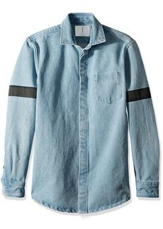 Scotch & Soda Men's Oversized Heavier Weight Clean Denim Shirt with Printed str Blue M