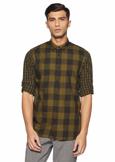 Scotch & Soda Men's Regular Fit Checked Shirt with Sleeve Roll-up Combo dye M