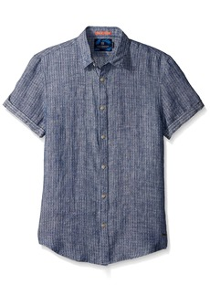 Scotch & Soda Men's Shortsleeve Shirt In Structured Linen Quality