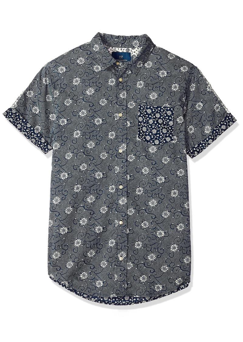 Scotch & Soda Men's Shortsleeve Shirt with Mix & Match Prints  XXL