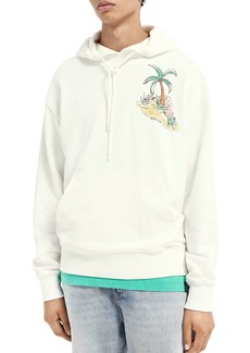 Scotch & Soda Organic Cotton Graphic Print Relaxed Fit Hoodie