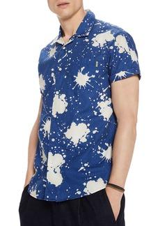 Scotch & Soda Paint Splatter-Print Regular Fit Short-Sleeve Shirt