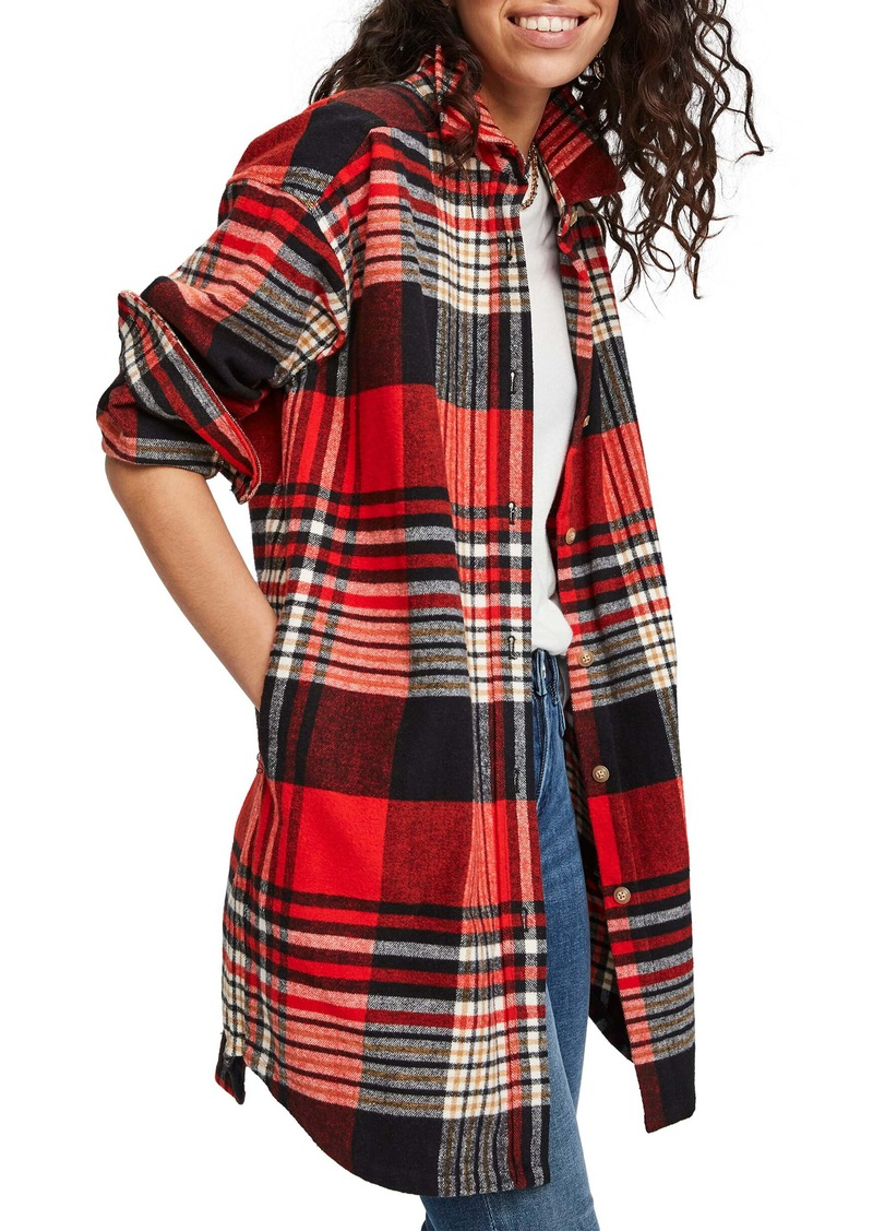 Scotch & Soda Plaid Oversize Brushed Cotton Flannel Shirt