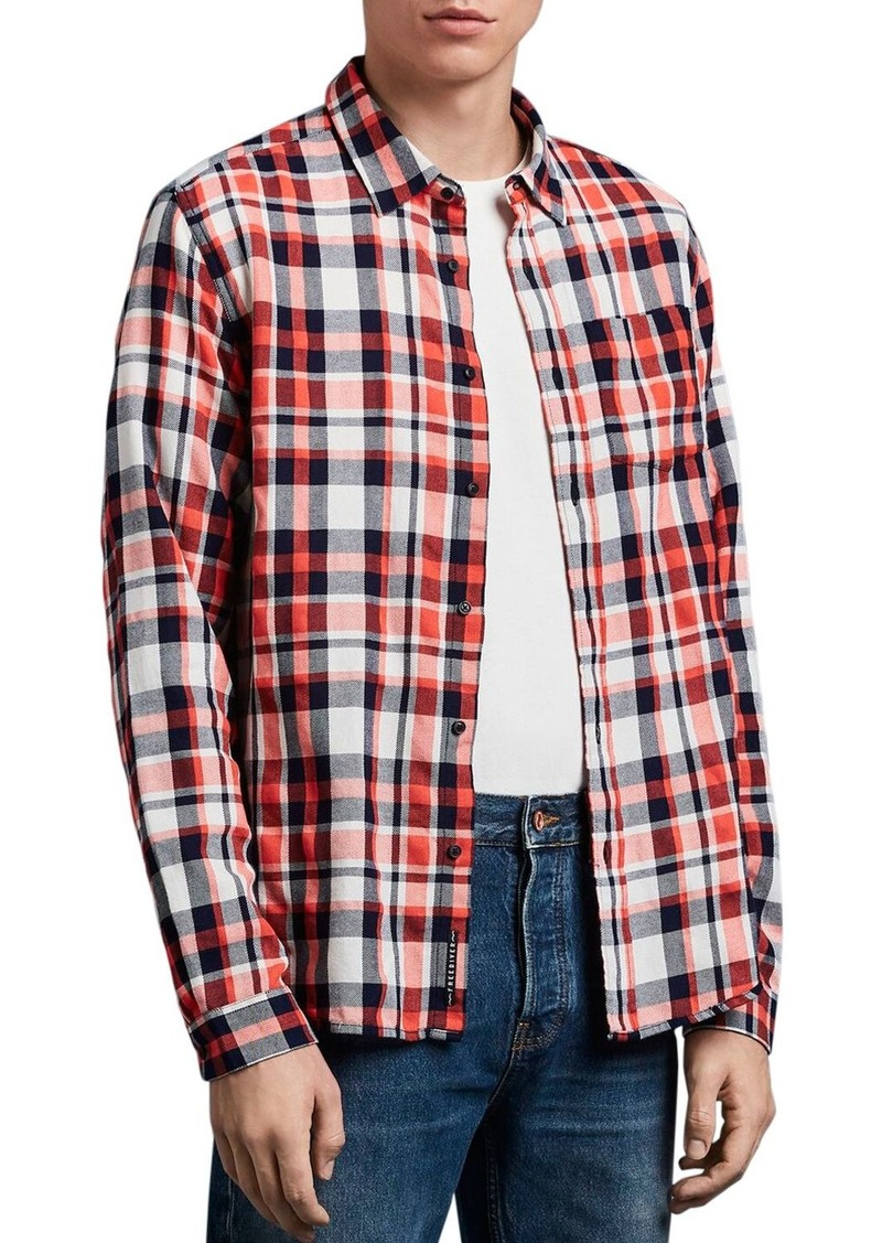 Scotch & Soda Plaid Slim Fit Shirt