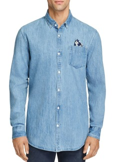 Scotch & Soda Pocket Square-Accented Denim Button-Down Shirt