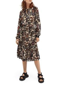 Scotch & Soda Print Long Sleeve Chiffon Midi Dress
