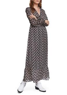 Scotch & Soda Print Long Sleeve Empire Waist Maxi Dress