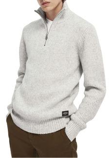 Scotch & Soda Ribbed Quarter Zip Funnel Neck Sweater