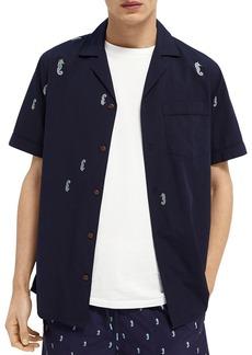 Scotch & Soda Seahorse Print Slim Fit Camp Shirt