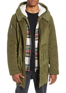 Scotch & Soda Seasonal Parka with Removable Lining and Detachable Faux Shearling Hood