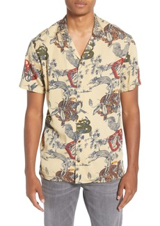 Scotch & Soda Slim Fit Print Short Sleeve Button-Up Sport Shirt
