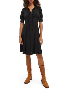 Scotch & Soda Split Neck Fit & Flare Dress
