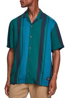 Scotch & Soda Stripe Slim Fit Button Down Camp Shirt