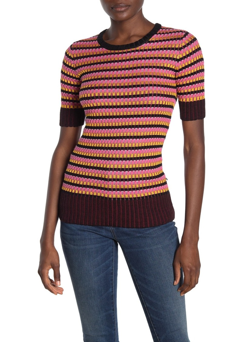 Scotch & Soda Short Sleeve Knit Crew Neck Wool Top