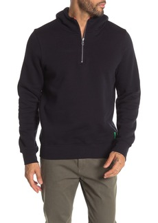 Scotch & Soda Solid Fleece Half Zip Pullover Hoodie