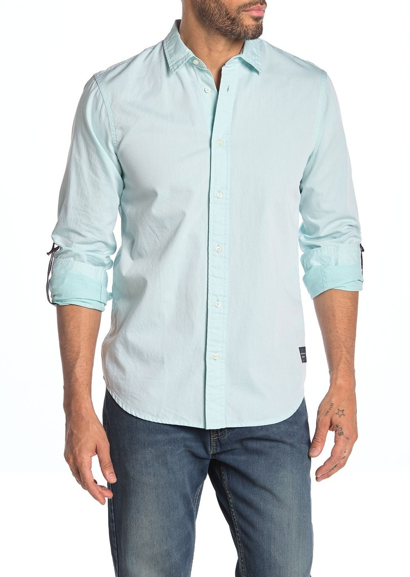 Scotch & Soda Solid Roll-Up Sleeve Regular Fit Shirt