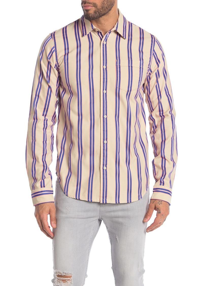 Scotch & Soda Stripe Print Long Sleeve Regular Fit Shirt