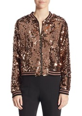 Scripted Cropped Sequined Jacket