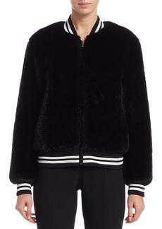 Scripted Faux Fur Stripe Bomber Jacket