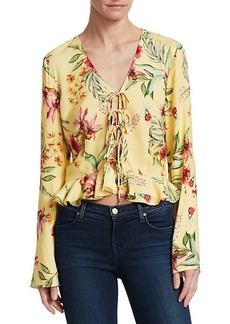 Scripted Floral Tie-Front Crop Peplum Blouse