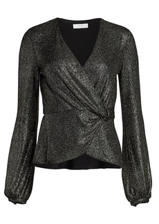 Scripted Glitter Metallic Crossover Top