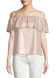 Scripted Metallic Off-The-Shoulder Blouse