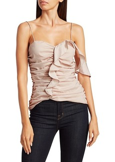 Scripted One-Shoulder Sleeveless Ruffle Top