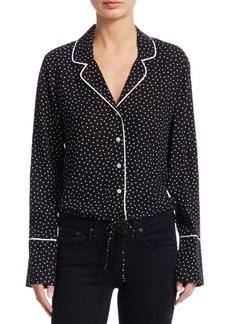 Scripted Polka Dot Crop Pajama-Style Top