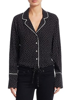 Scripted Polka Dot Crop Pajama-Style Top