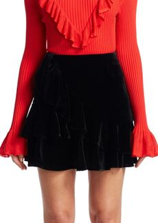 Scripted Ruffle Velvet Mini Skirt