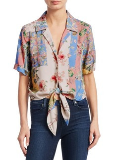 Scripted Tie-Front Floral Shirt