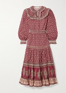 Sea Beaux Ruffled Printed Cotton-voile Midi Dress