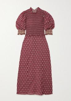Sea Beaux Ruffled Shirred Printed Cotton Midi Dress